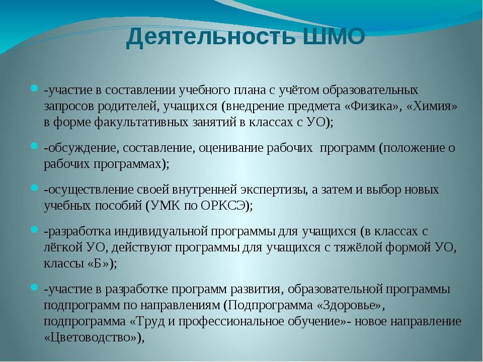 Деятельность ШМО -участие в составлении учебного плана с учётом образовательн...