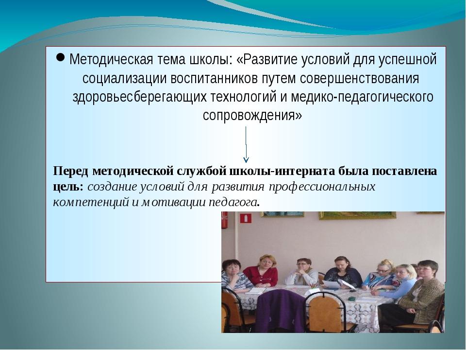 Методическая тема школы: «Развитие условий для успешной социализации воспитан...