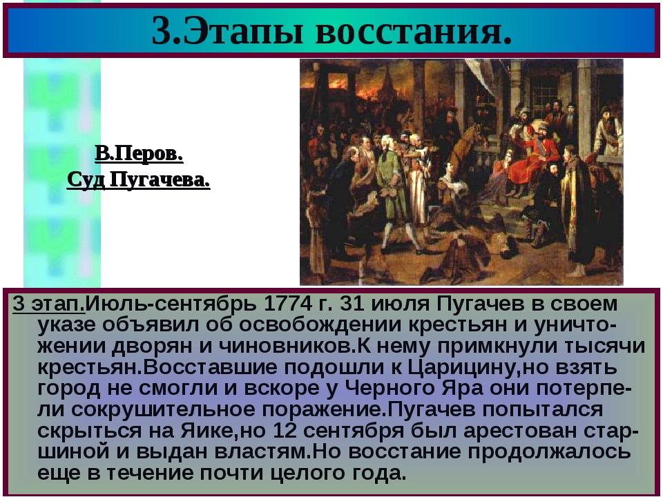 3.Этапы восстания. 3 этап.Июль-сентябрь 1774 г. 31 июля Пугачев в своем указе...