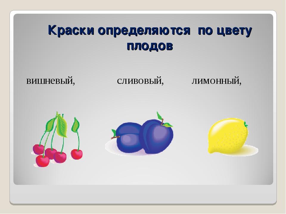 вишневый, сливовый, лимонный, Краски определяются по цвету плодов