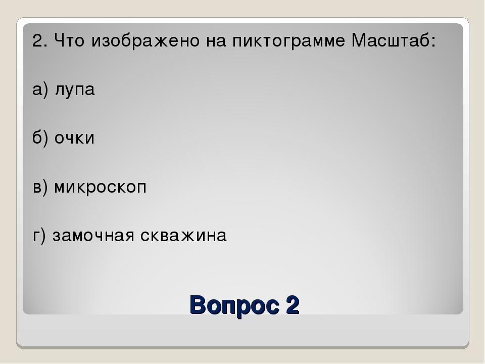 Вопрос 2 2. Что изображено на пиктограмме Масштаб: а) лупа б) очки в) микроск...