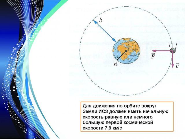 Для движения по орбите вокруг Земли ИСЗ должен иметь начальную скорость равну...