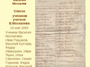 Первым учителем школы был Василий Москалев Список учеников учителя В.Москалев