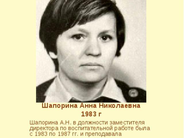 Шапорина Анна Николаевна 1983 г Шапорина А.Н. в должности заместителя директ...