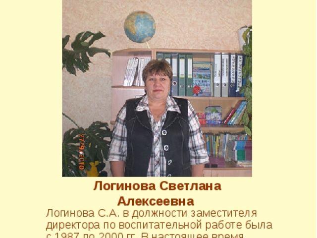 Логинова Светлана Алексеевна Логинова С.А. в должности заместителя директора...