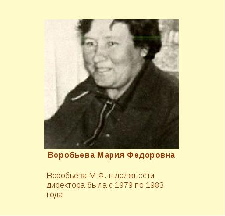 Воробьева Мария Федоровна Воробьева М.Ф. в должности директора была с 1979 по...