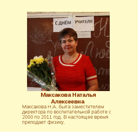 Максакова Наталья Алексеевна Максакова Н.А. была заместителем директора по во...