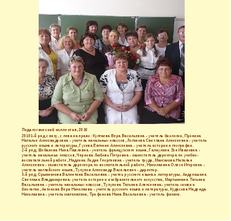 Педагогический коллектив, 2010 20101-й ряд с низу, с лева на право: Култаева...