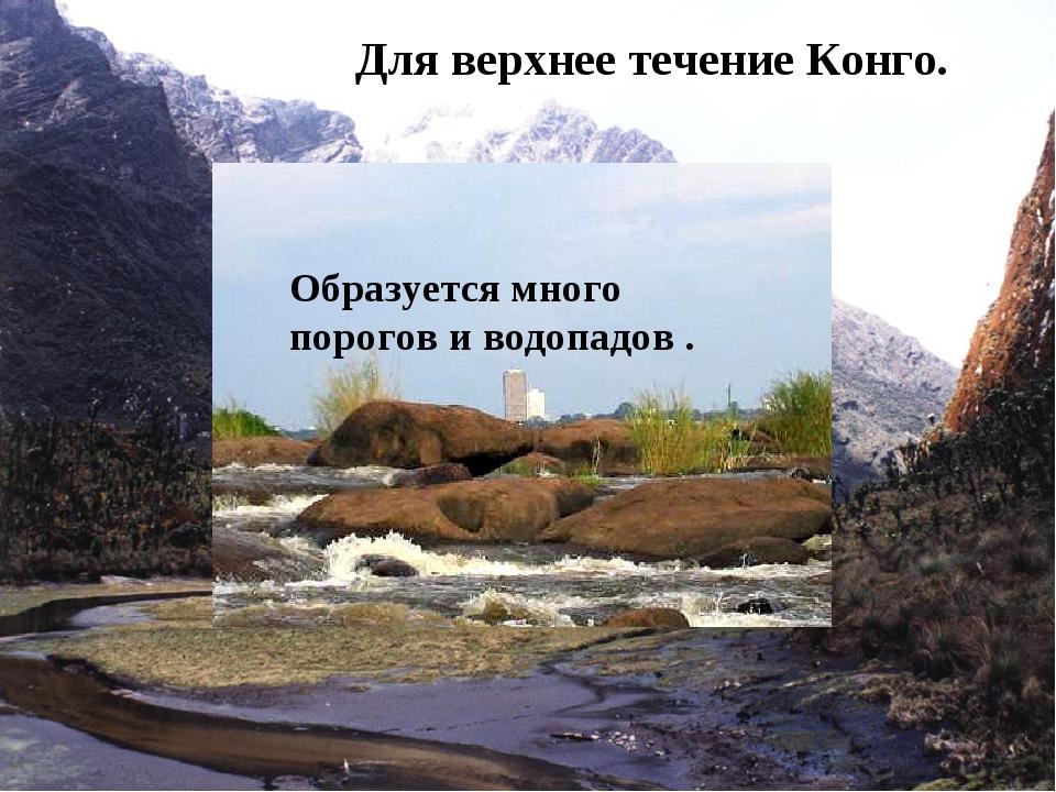 Для верхнее течение Конго. Образуется много порогов и водопадов .