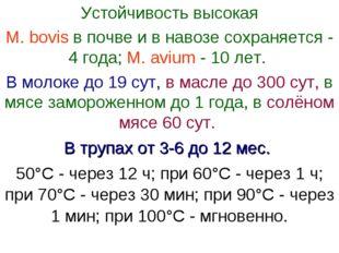 Устойчивость высокая М. bovis в почве и в навозе сохраняется - 4 года; М. avi