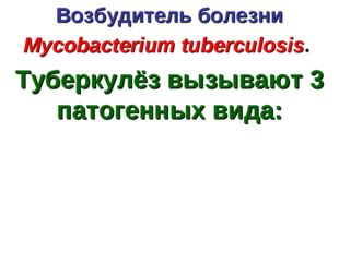 Возбудитель болезни Mycobacterium tuberculosis. Туберкулёз вызывают 3 патоген