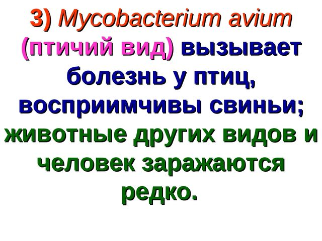 3) Mycobacterium avium (птичий вид) вызывает болезнь у птиц, восприимчивы сви...