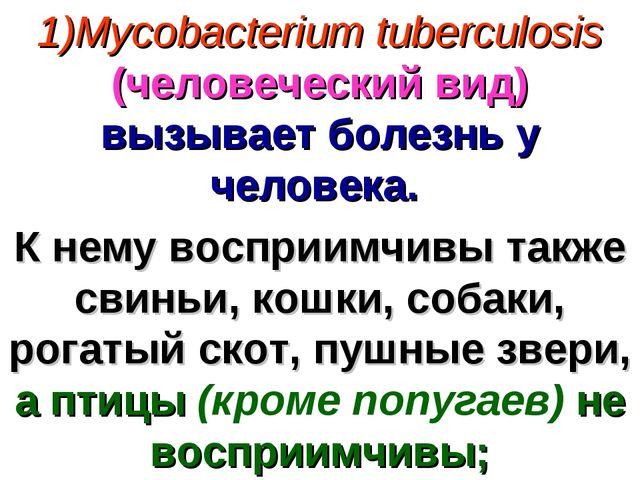 Mycobacterium tuberculosis (человеческий вид) вызывает болезнь у человека. К...