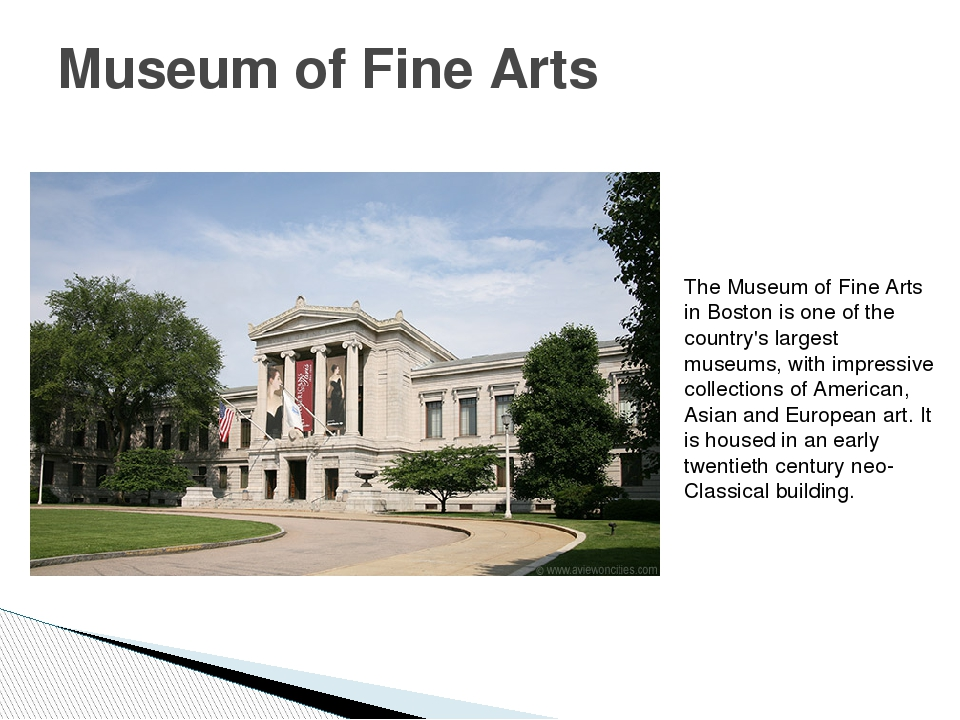 Museum of Fine Arts The Museum of Fine Arts in Boston is one of the country's...