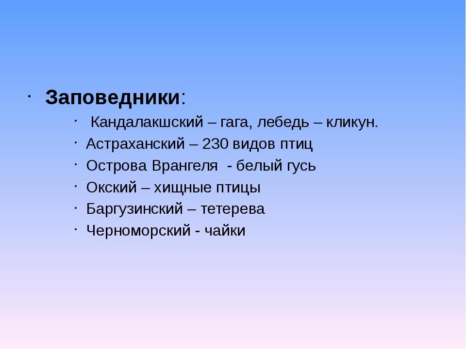 Заповедники: Кандалакшский – гага, лебедь – кликун. Астраханский – 230 видов...