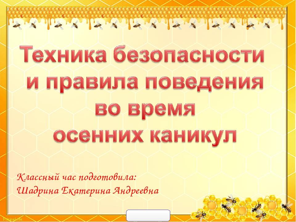 Классный час подготовила: Шадрина Екатерина Андреевна