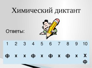 Химический диктант Ответы: 1 2 3 4 5 6 7 8 9 10 ф х х ф х ф х ф х Х ф