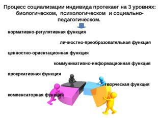 Процесс социализации индивида протекает на 3 уровнях: биологическом, психолог