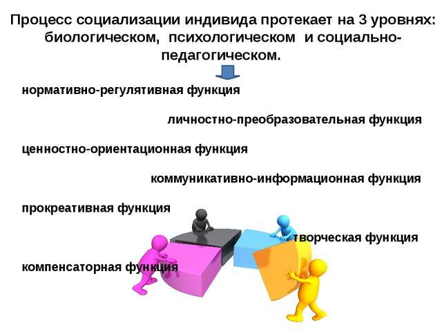 Процесс социализации индивида протекает на 3 уровнях: биологическом, психолог...