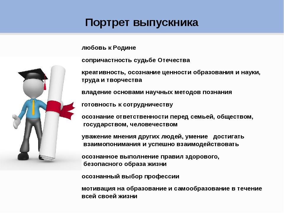 Портрет выпускника любовь к Родине сопричастность судьбе Отечества креативнос...