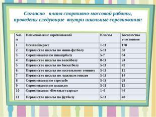 Согласно плана спортивно-массовой работы, проведены следующие внутри школьные