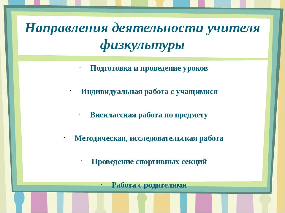 Направления деятельности учителя физкультуры Подготовка и проведение уроков И...