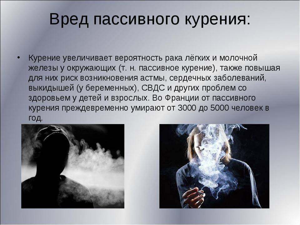 Вред пассивного курения: Курение увеличивает вероятность рака лёгких и молочн...