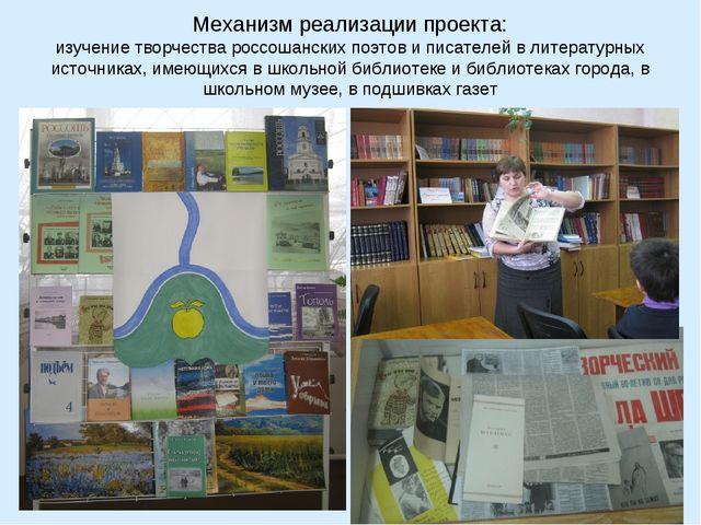 Механизм реализации проекта: изучение творчества россошанских поэтов и писате...