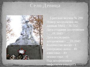 Село Девица Братская могила № 289 Номер захоронения по данным ВМЦ – 36-552 Да