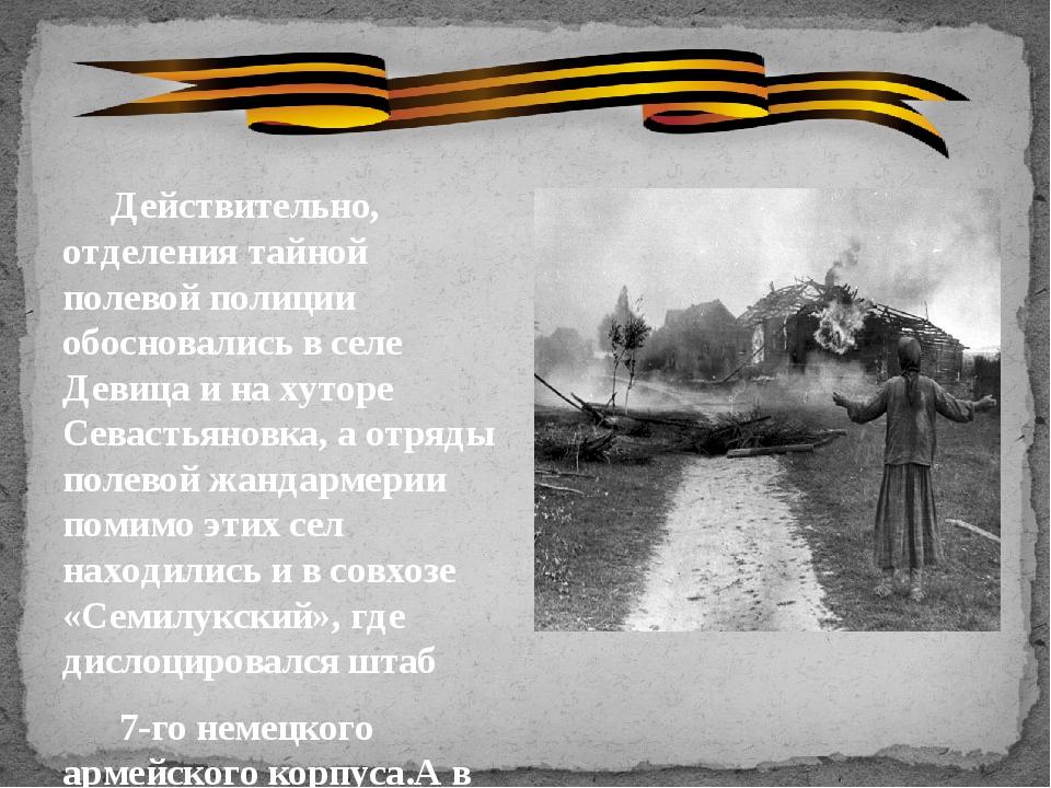 Действительно, отделения тайной полевой полиции обосновались в селе Девицаи...