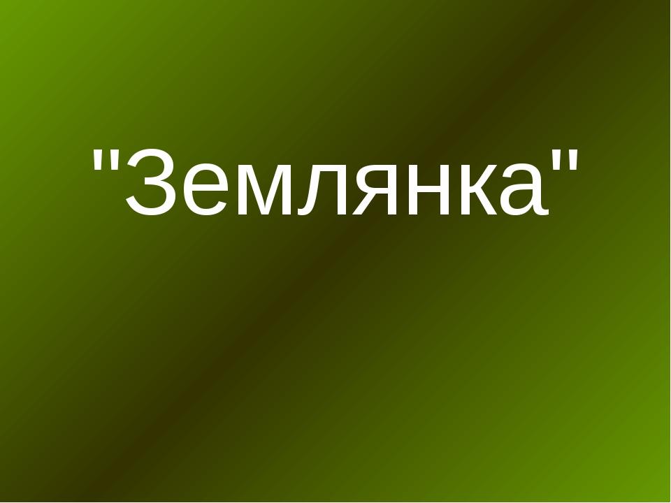 """""""Землянка"""""""