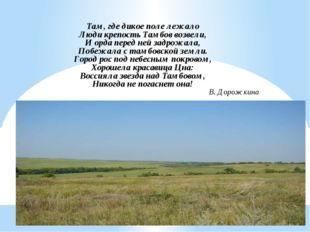 Там, где дикое поле лежало Люди крепость Тамбов возвели, И орда перед ней зад