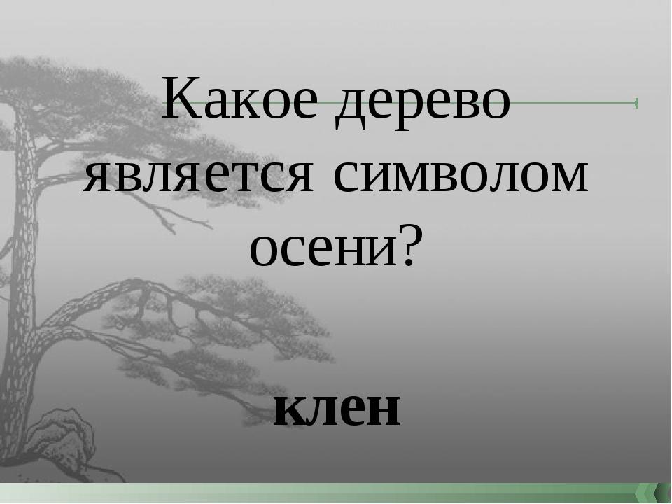 Какое дерево является символом осени? клен