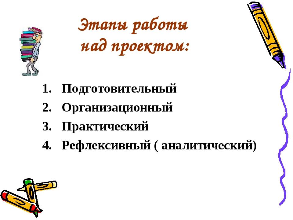 Этапы работы над проектом: Подготовительный Организационный Практический Рефл...