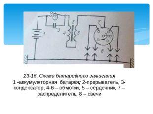 23-16. Схема батарейного зажигания 1 -аккумуляторная батарея; 2-прерыватель,