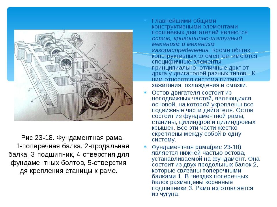 Главнейшими общими конструктивными элементами поршневых двигателей являются о...