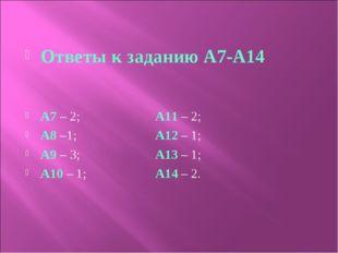 Ответы к заданию А7-А14 A7 – 2; A11 – 2; A8 –1; A12 – 1; A9 – 3; A13 – 1; A1