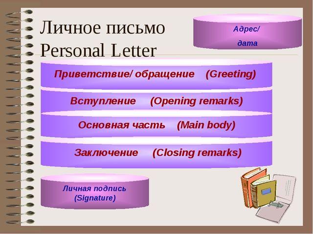Личное письмо Personal Letter