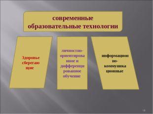 * современные образовательные технологии Здоровье сберегаю щие информационно-
