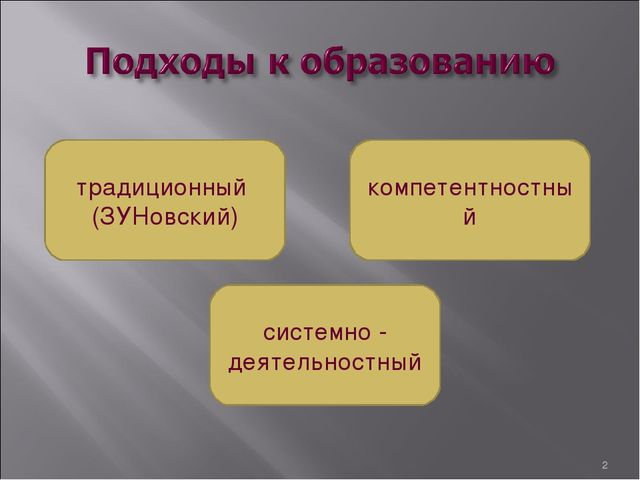 * традиционный (ЗУНовский) компетентностный системно - деятельностный