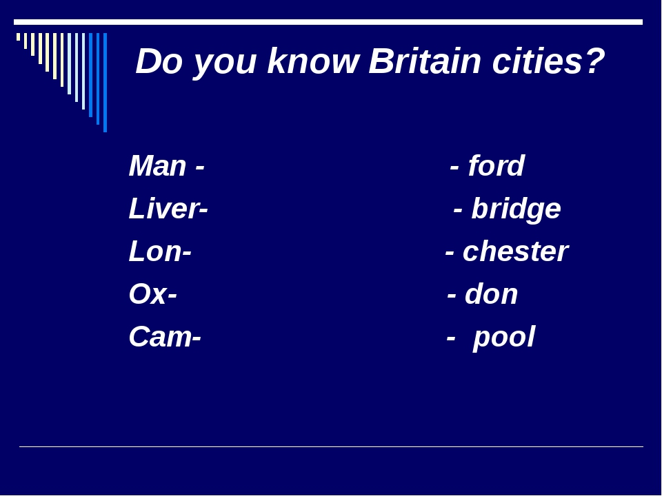 Do you know Britain cities? Man - - ford Liver- - bridge Lon- - chester Ox- -...