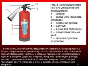 Углекислотный огнетушитель представляет собой стальной армированный баллон,