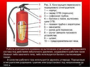 Работа огнетушителя основана на вытеснении огнетушащего порошкового состава