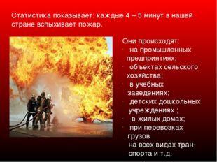 Статистика показывает: каждые 4 – 5 минут в нашей стране вспыхивает пожар. О