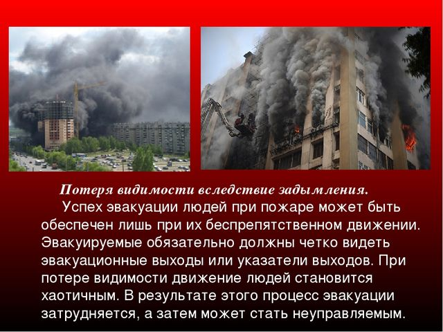Потеря видимости вследствие задымления. Успех эвакуации людей при пожаре мож...