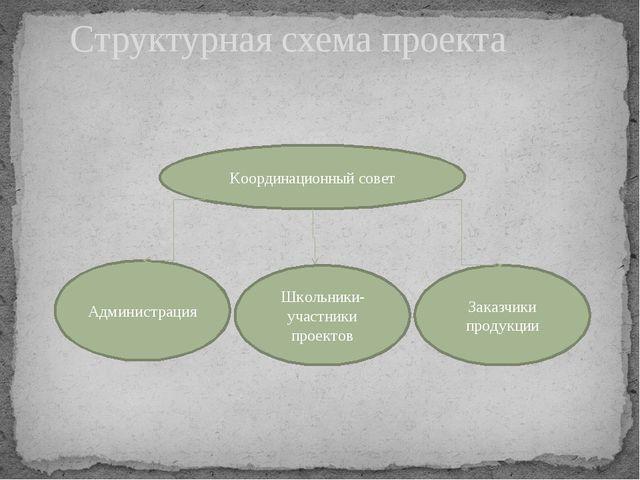 Структурная схема проекта Координационный совет Администрация Школьники-участ...