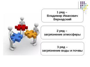 1 ряд – Владимир Иванович Вернадский 3 ряд – загрязнение воды и почвы 2 ряд –