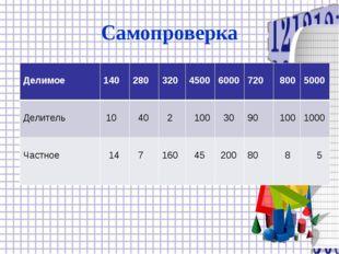 Самопроверка Делимое  140 280 320 4500 6000 720 800 5000 Делитель  1