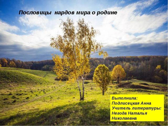 Пословицы нардов мира о родине Выполнила: Подлисецкая Анна Учитель литерат...
