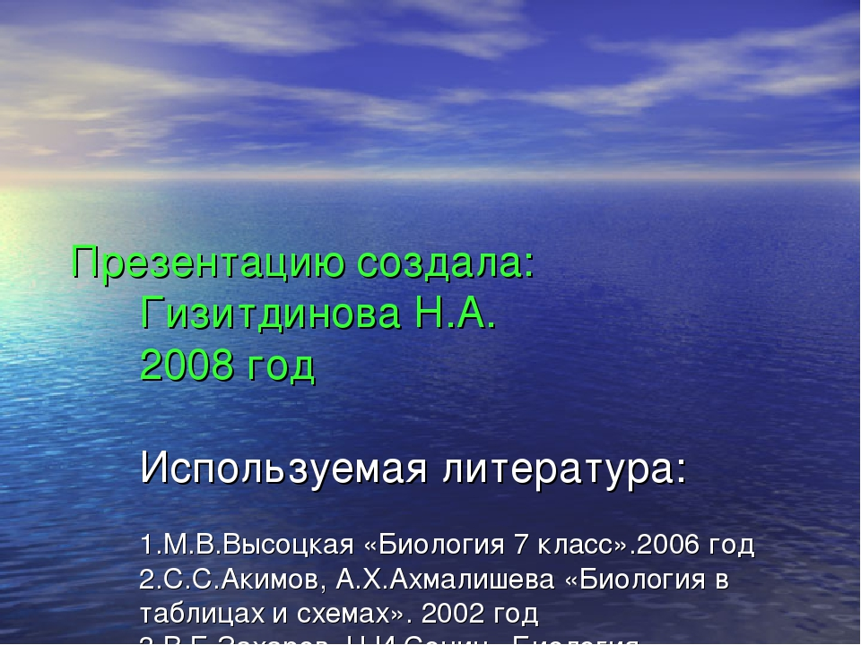 Презентацию создала: Гизитдинова Н.А. 2008 год Используемая литература: 1.М.В...